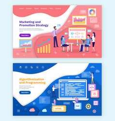 Marketing and promotion strategy algorithmization vector