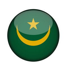 Mauritania flag in glossy round button of icon vector