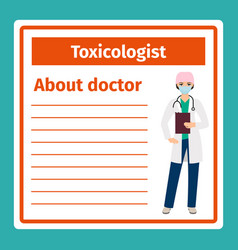 medical notes about toxicologist vector image