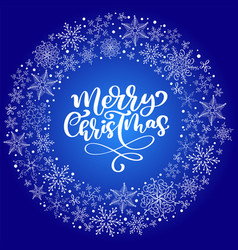 merry christmas calligraphy text with vector image