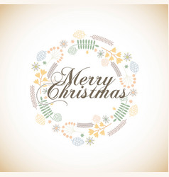 Merry christmas floral decoration card vector
