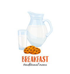 Milk jug and glass with biscuit vector