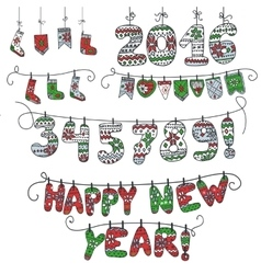 New year doodle garlandKnitted numberssocks vector image