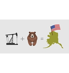 Oil rig and bear Symbols of Alaska American flag vector image