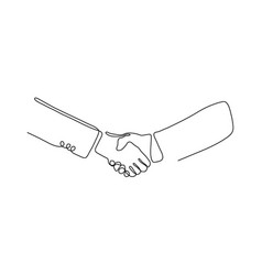 one line handshake head design silhouette vector image