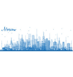 outline moscow russia skyline with blue buildings vector image