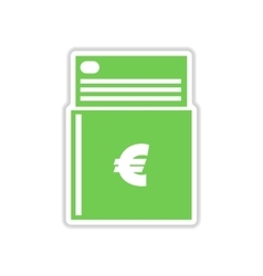 Paper sticker on white background checkbook vector