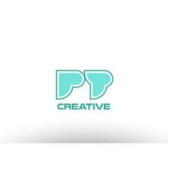 Pastel green alphabet letter pt p t combination vector