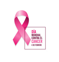 pink cancer ribbon with spanish text and date vector image