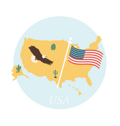 poster with usa map and americas symbols vector image vector image