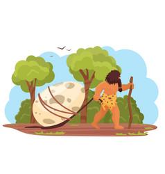 Primitive man with prehistoric dinosaur egg stone vector