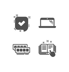 Ram laptop and confirmed icons technical vector