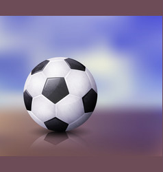 Realistic soccer ball with reflection on abstract vector