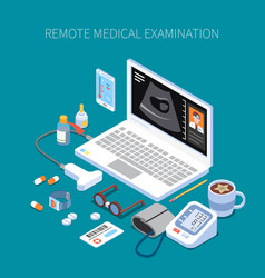 Remote medical examination isometric composition vector