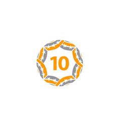 Ribbon circle star number 10 vector