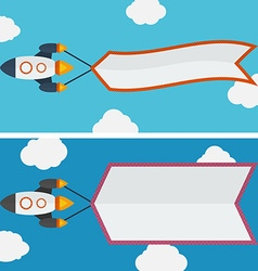 Rocket with banner vector image