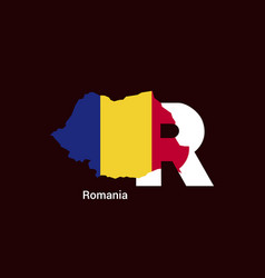 Romania initial letter country with map and flag vector