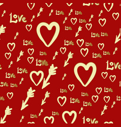 romantic hearts and arrows seamless pattern vector image