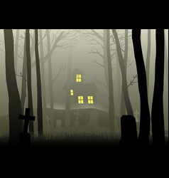 Scary house and cemetery in dark woods vector