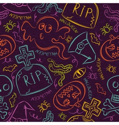 Seamless Pattern with color Halloween ghost vector image