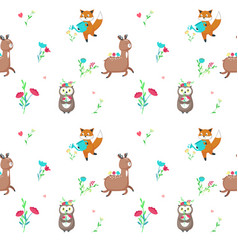 seamless pattern with cute spring animals vector image