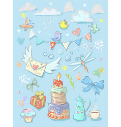 set collection with birthday party elements and vector image