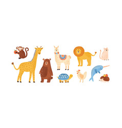 Set funny childish scandinavian zoo animals vector