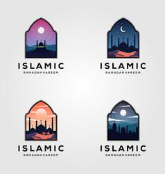 set islamic mosque logo ramadan design vector image