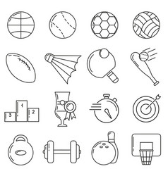 set of icons in line style sports ball vector image