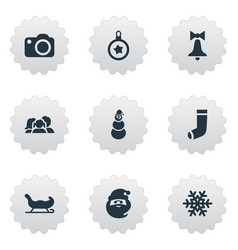 set of simple new year icons vector image