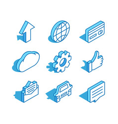 set web isometric icon world arrow up cloud vector image
