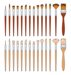 set with brushes for painting vector image