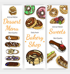 sketch bakery vintage card vector image