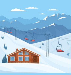 Ski resort with chair lift house chalet winter vector
