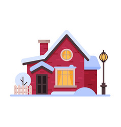 snowy suburban wooden cottage cute rural winter vector image