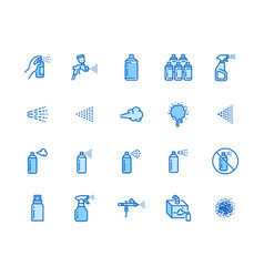 Spray can flat line icons set hand with aerosol vector