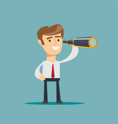 Successful businessman with telescope business vector