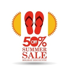 Summer sale 50 discounts with flip flops vector
