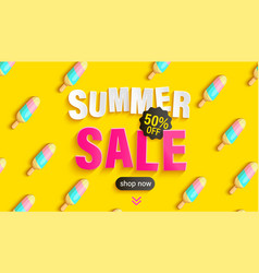 summer sale banner with ice cream pattern vector image