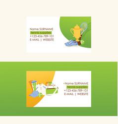 tennis business card tennis-ball sportswear vector image