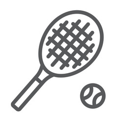 tennis line icon game and sport racket sign vector image