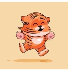 Tiger cub rejoices vector