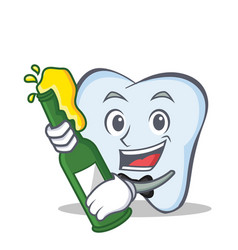Tooth character cartoon style with beer vector