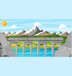 Train and landscape with mountain vector