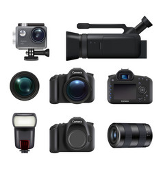 video and photo cameras professional dslr technic vector image