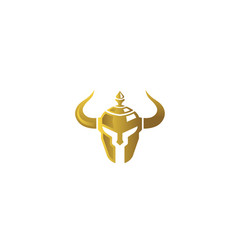 Warrior golden helmet logo vector