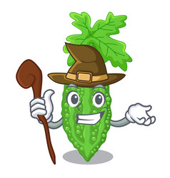 Witch bitter melon character on vegetables fresh vector
