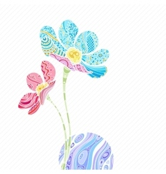 zentangle flowers with wave vector image