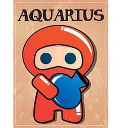 Zodiac sign Aquarius with cute black ninja vector image