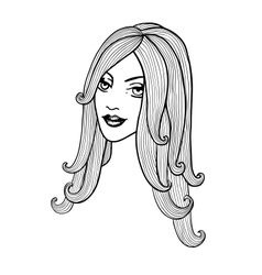 Beautiful girl Black and white outline vector image vector image